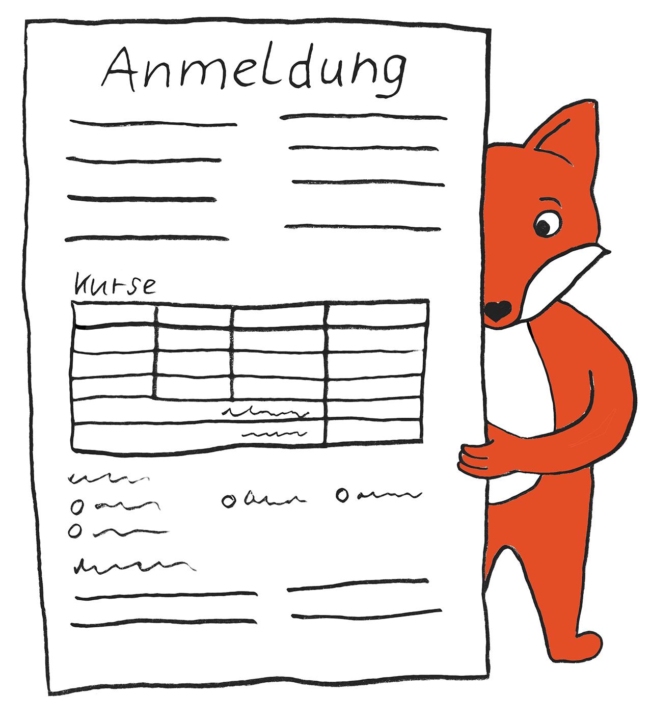 Anmeldeformular mit Comic-Fuchs