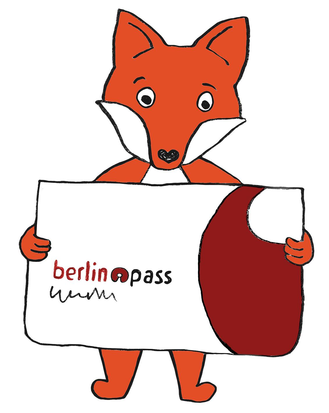 Comic-Fuchs hält übergroßen berlinpass