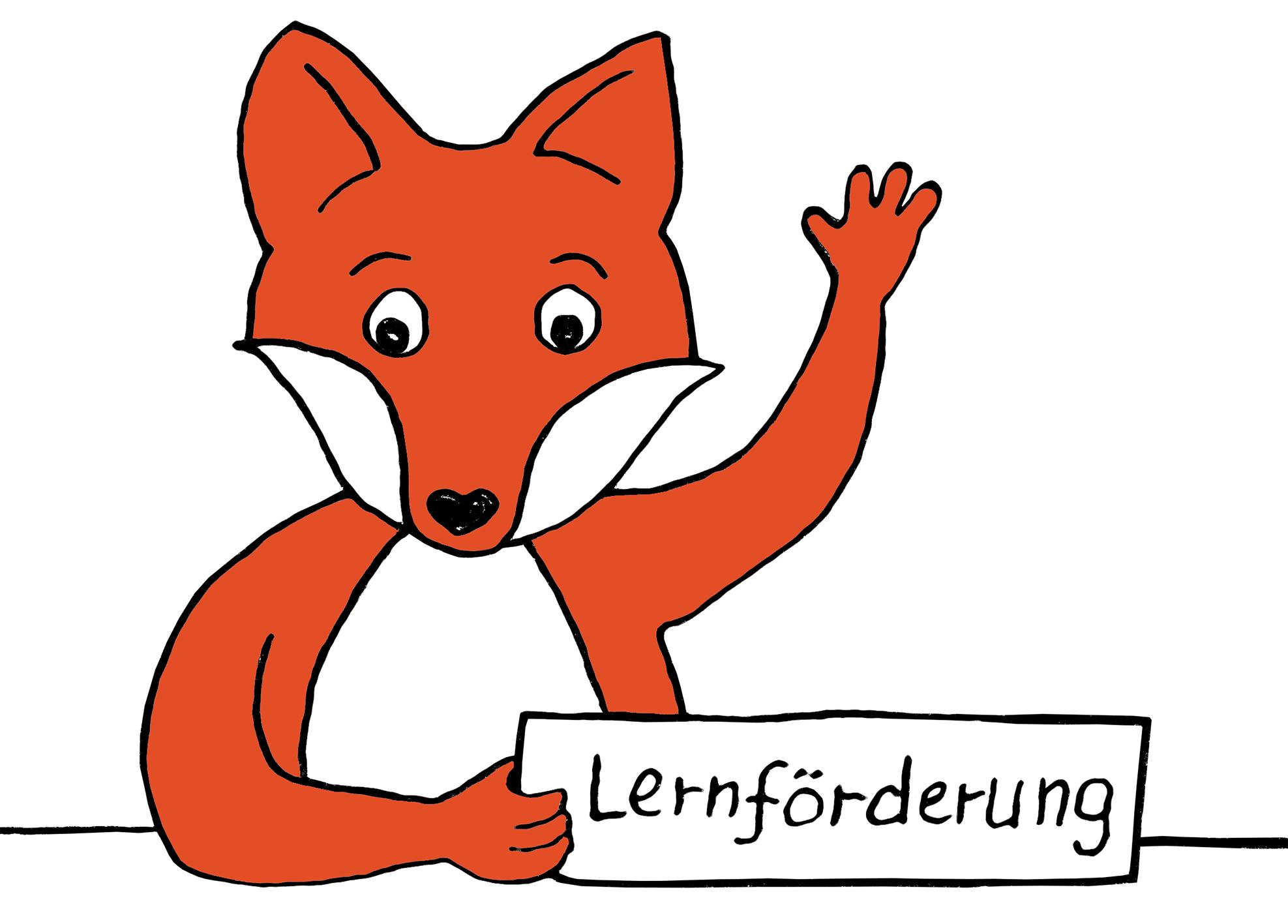 Comic-Fuchs hält Schild mit Text: Lernförderung