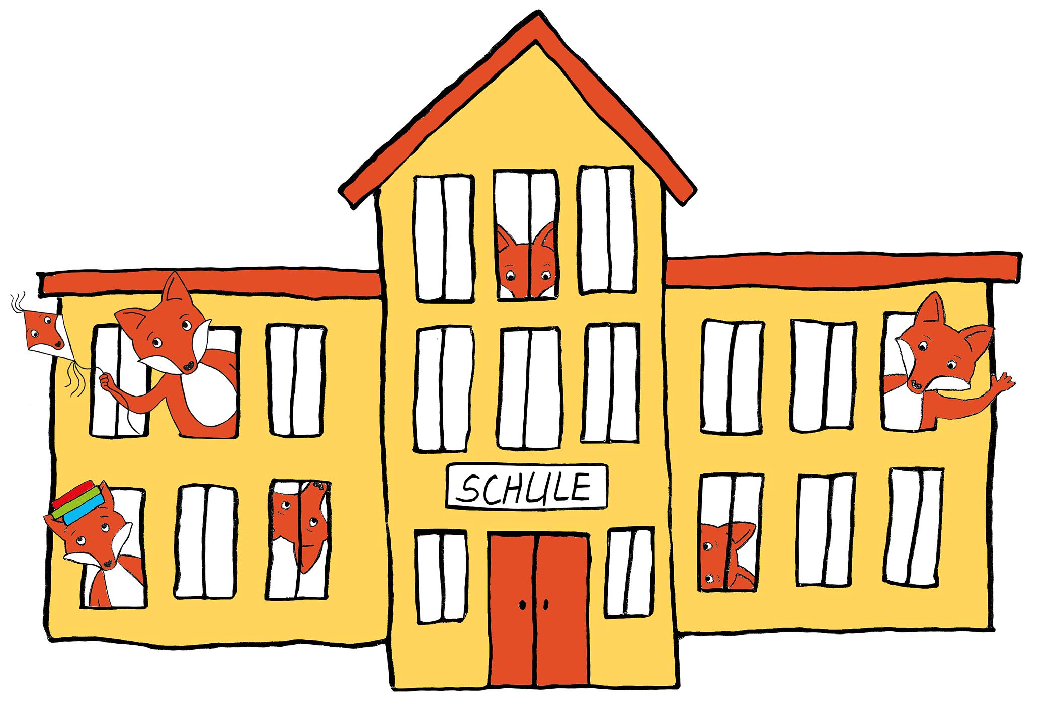 Schulgebäude mit Comic-Füchsen in Fenstern