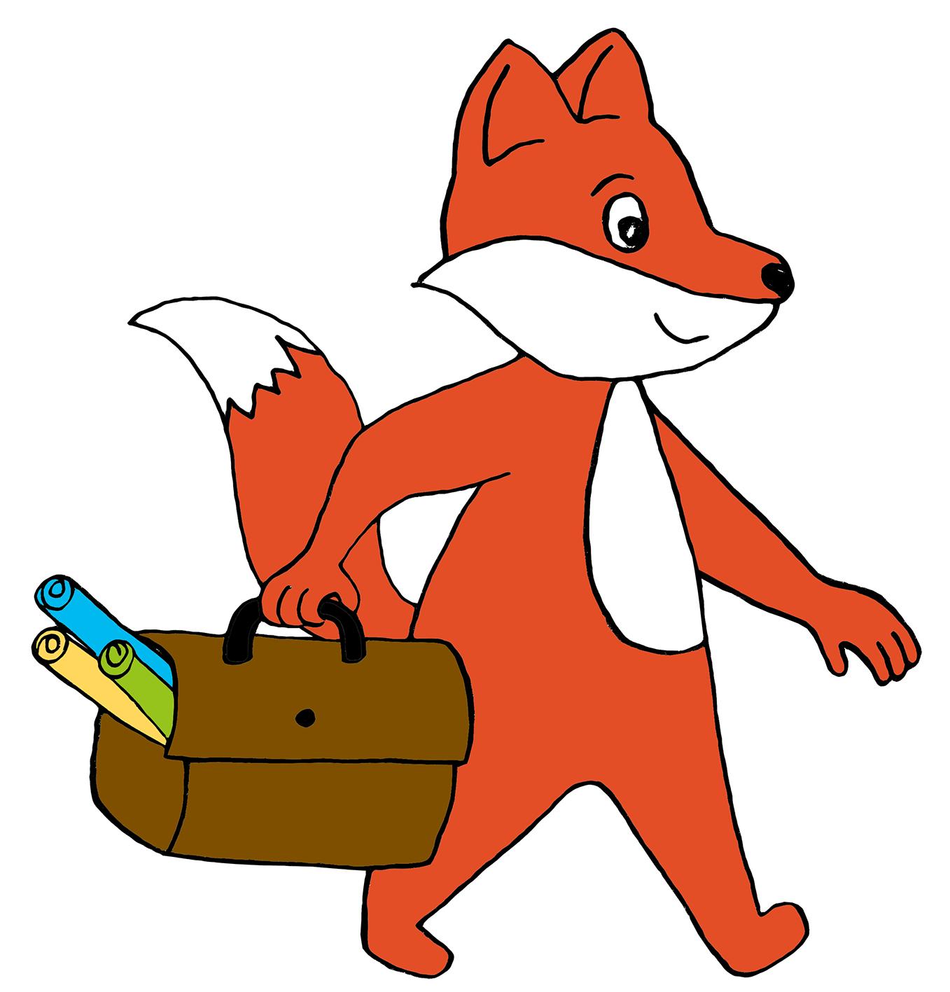 Comic-Fuchs läuft mit Ledertasche und Arbeitsmaterial