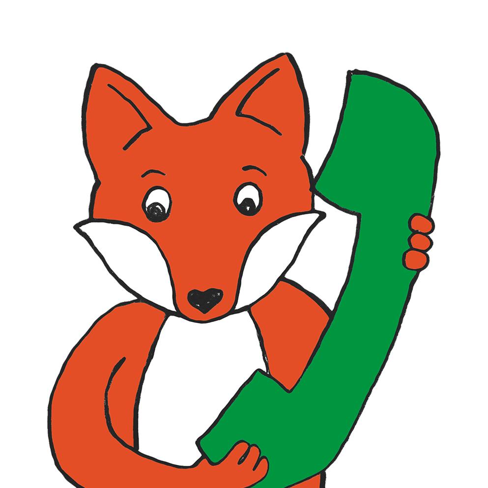 Comic-Fuchs hält übergroßen Telefonhörer