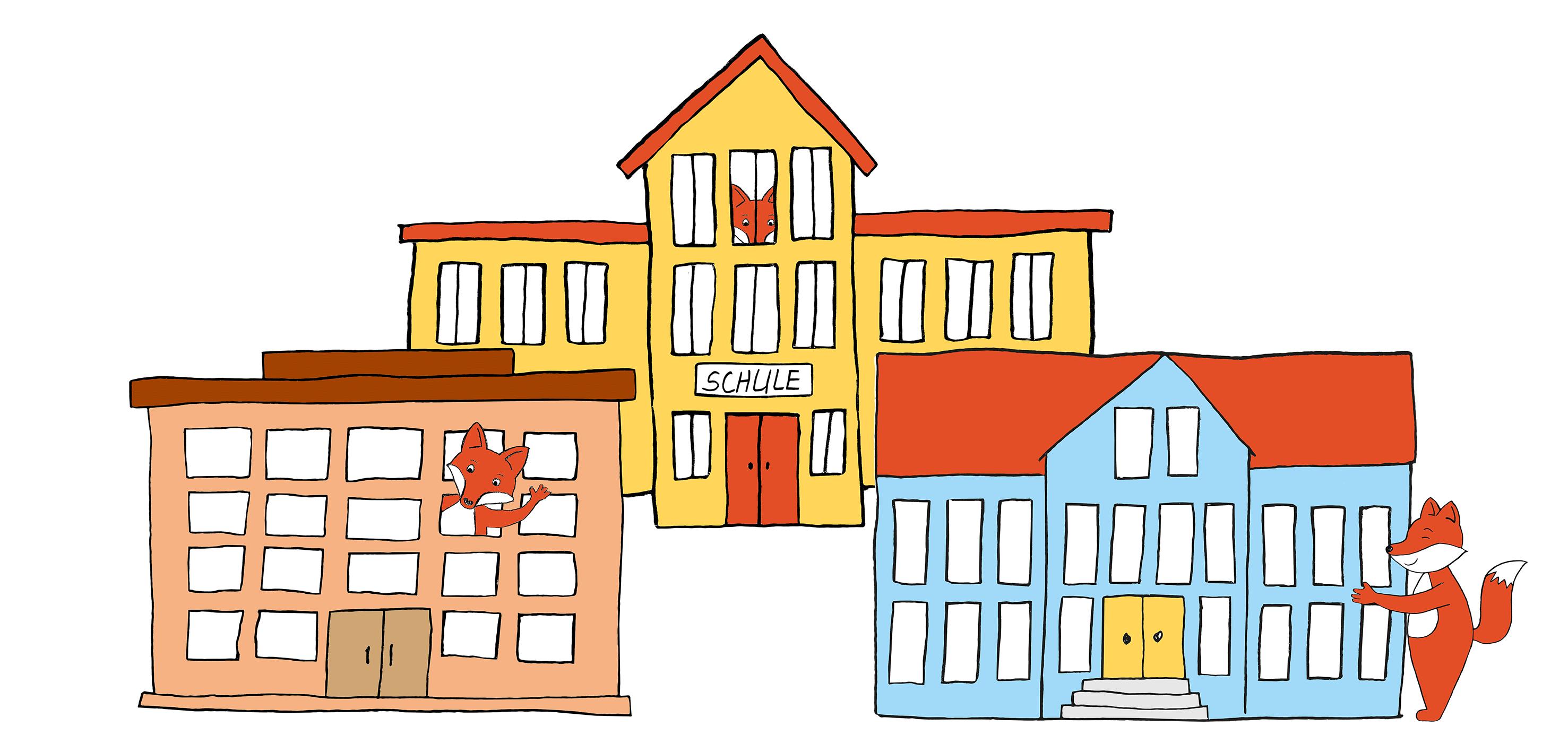 Drei Schulgebäude mit Füchsen dabei