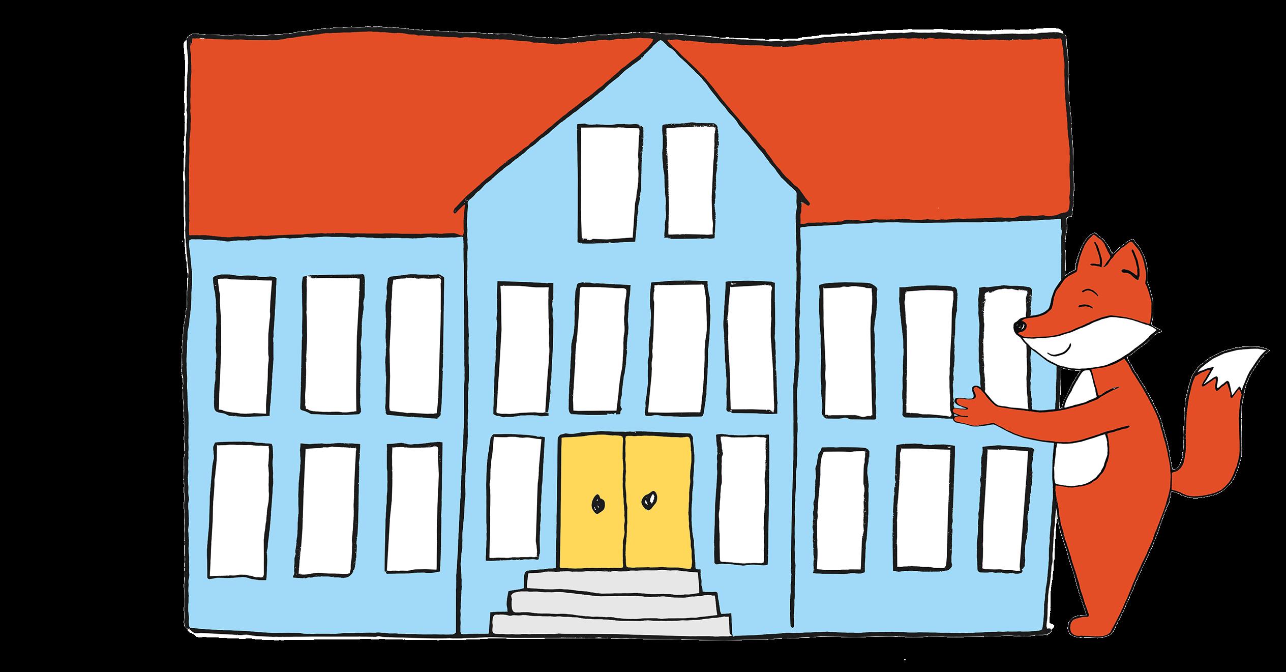 Schulgebäude wird von Comic-Fuchs umarmt