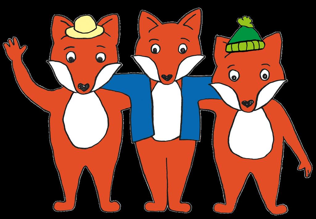 Drei Comic-Füchse Arm in Arm