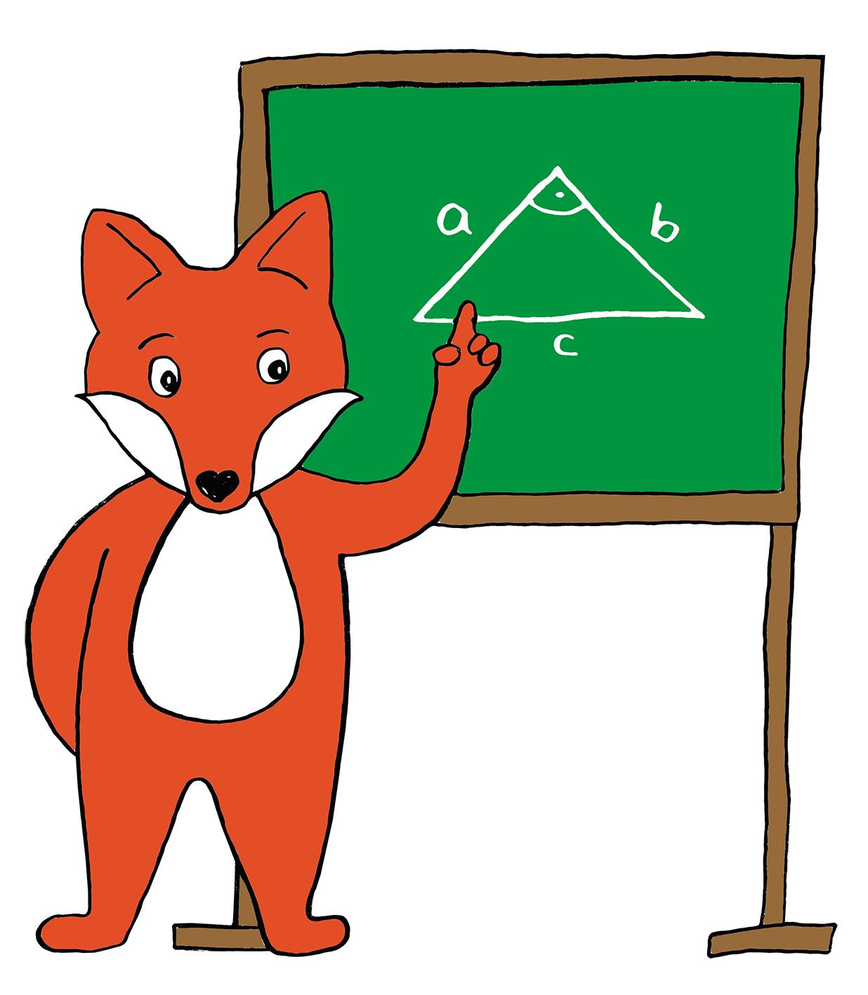 Comic-Fuchs vor Tafel mit aufgemaltem rechtwinkligem Dreieck