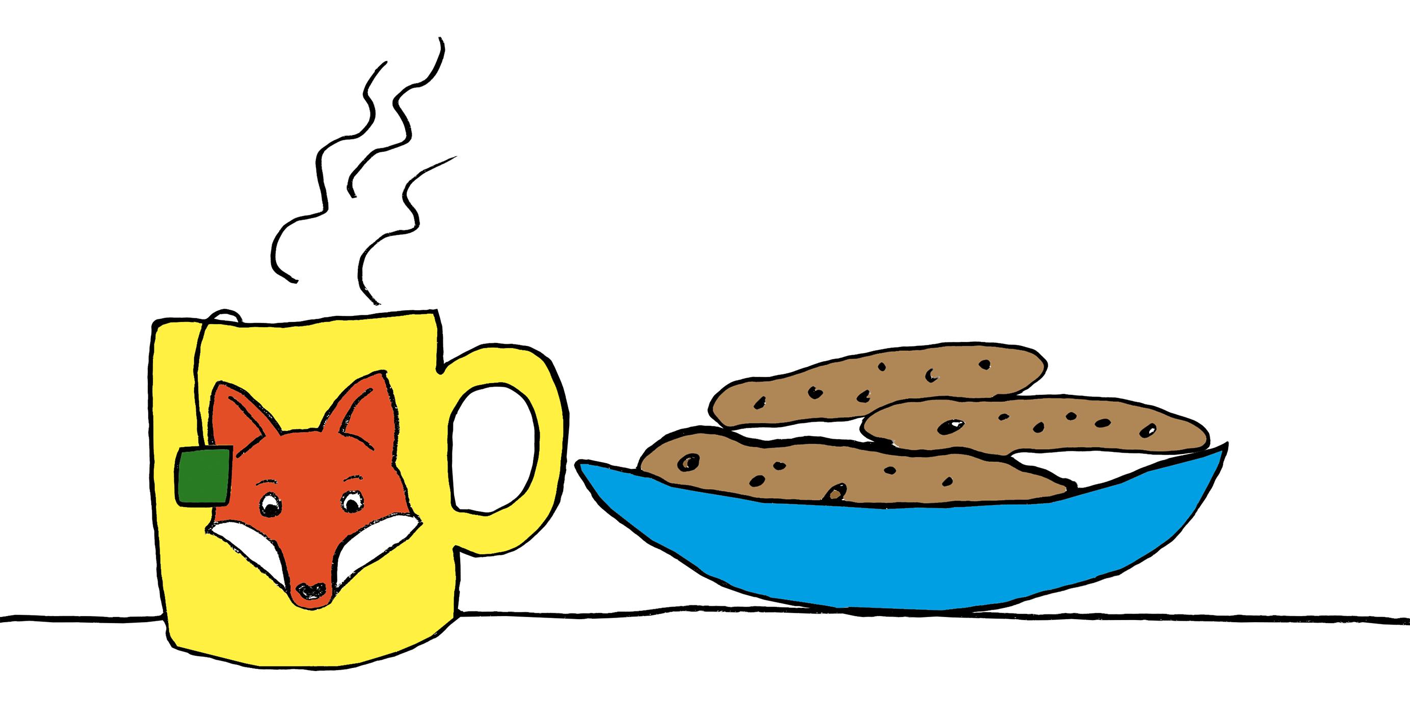Teetasse und Schale mit Keksen
