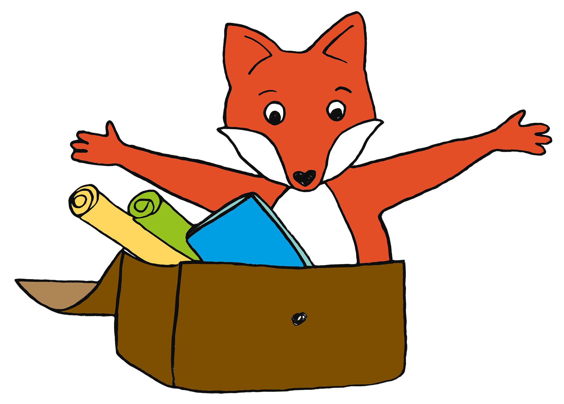 Comic-Fuchs sitzt in Ledertasche mit Arbeitsmaterial